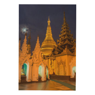 Impressão Em Madeira Stupa dourado e templos