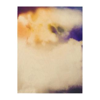 Impressão Em Madeira Sun através das nuvens