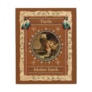 Impressão Em Madeira Tartaruga - canvas da madeira da terra de mãe