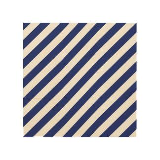 Impressão Em Madeira Teste padrão diagonal do azul marinho e o branco