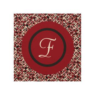Impressão Em Madeira Teste padrão floral preto & branco vermelho