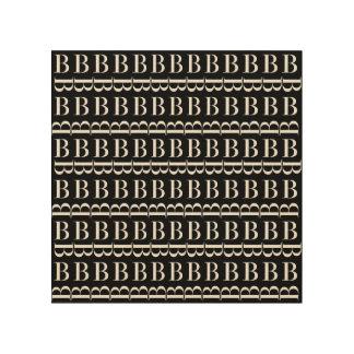 Impressão Em Madeira Teste padrão inicial do monograma, letra B no