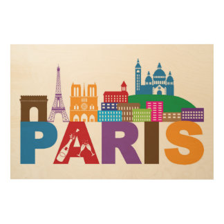 Impressão Em Madeira Tipografia colorida de Paris, France |