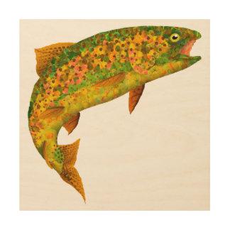 Impressão Em Madeira Truta de arco-íris 2 da folha de Aspen