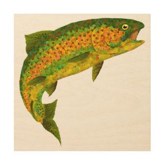 Impressão Em Madeira Truta de arco-íris 4 da folha de Aspen