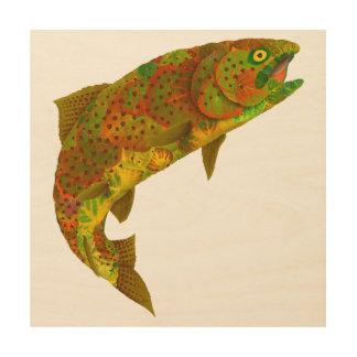 Impressão Em Madeira Truta de arco-íris 6 da folha de Aspen