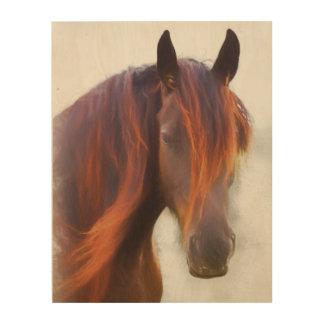 Impressão Em Madeira Um cavalo nomeado impressão de madeira de Vermelho