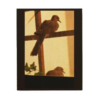 Impressão Em Madeira Um par de pombas