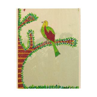 Impressão Em Madeira Um pássaro em um ramo