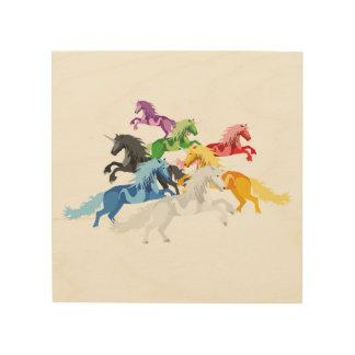 Impressão Em Madeira Unicórnios selvagens coloridos da ilustração