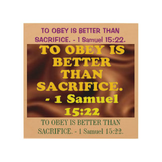 Impressão Em Madeira Verso da bíblia de 1 15:22 de Samuel.