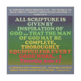 Impressão Em Madeira Verso da bíblia de 2 3:16 de Timothy - 17.