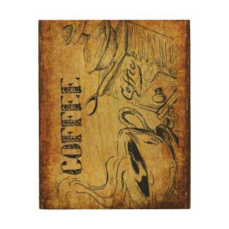 Impressão Em Madeira Wallart da madeira do tempo do café