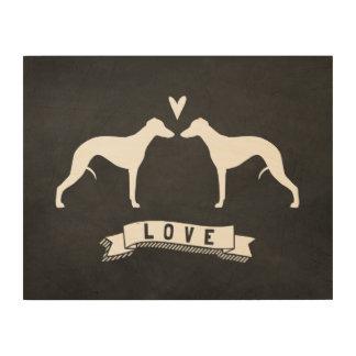 Impressão Em Madeira Whippet mostra em silhueta o amor