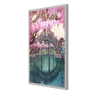 Impressão Em Tela 亀戸天神, ponte de Kameido, Hiroshi Yoshida, Woodcut