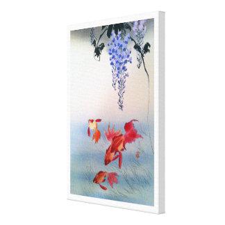 Impressão Em Tela 金魚と藤, peixe dourado do 小原古邨 e glicínias, Ohara
