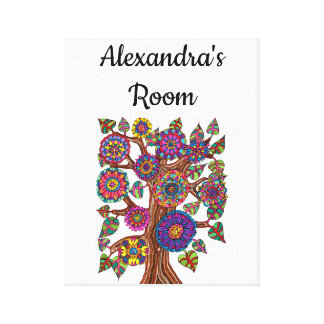 Impressão Em Tela A árvore colorida floresce a sala da menina