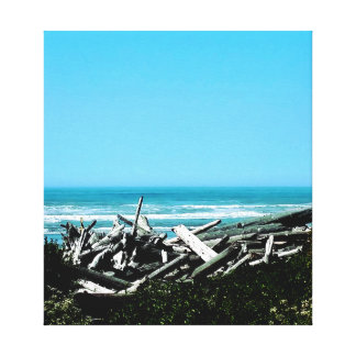 Impressão Em Tela A cena do oceano da madeira lançada costa esticou