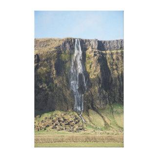 Impressão Em Tela A gota completa de uma cachoeira islandêsa