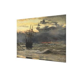 Impressão Em Tela A Mar-Praia após uma estadia da tempestade,