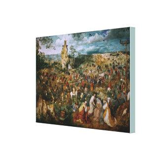 Impressão Em Tela A procissão ao calvário por Pieter Bruegel o EL