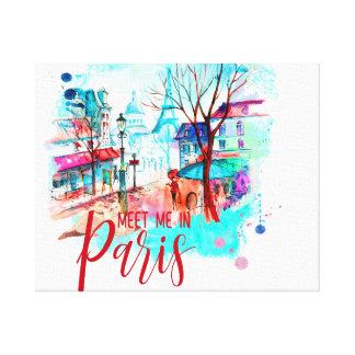 Impressão Em Tela A torre Eiffel encontra-me no Splatter da aguarela