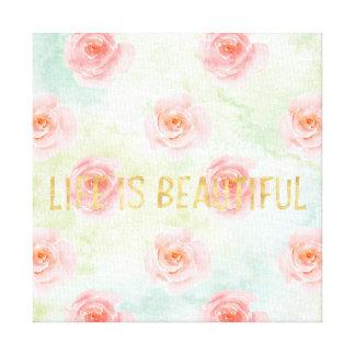 Impressão Em Tela A vida cor-de-rosa do ouro da aguarela dos rosas é