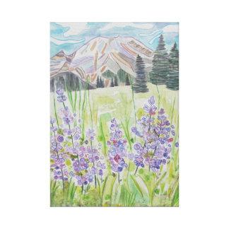 Impressão Em Tela Abstrato da montanha com flores da lavanda