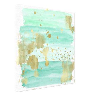 Impressão Em Tela Abstrato do ouro da hortelã