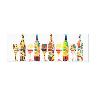 Impressão Em Tela Aguarela abstrata colorida das garrafas & dos