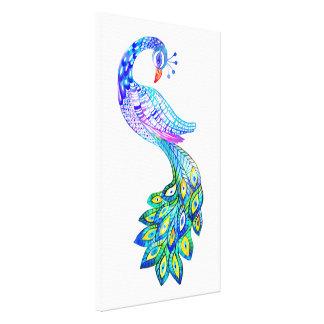 Impressão Em Tela Aguarela azul do pavão