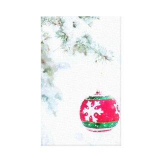 Impressão Em Tela Aguarela branca da neve dos enfeites de natal
