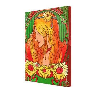 Impressão Em Tela Aguarela Womanw de Nouveau da arte/arte dos