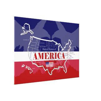 Impressão Em Tela Águia americana nomeada P/Canvas do Estado Cor de