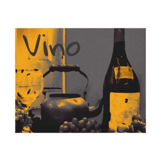 Impressão Em Tela Amarelo do cinzento- de uvas para vinho do Vino da