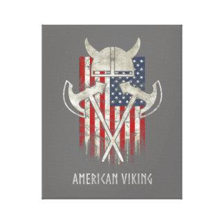 Impressão Em Tela Americano Viking. Bandeira, afligida, capacete,