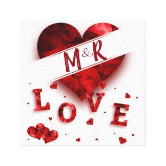 Impressão Em Tela Amor do monograma do coração