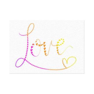 Impressão Em Tela Amor indicado por letras dos corações da mão