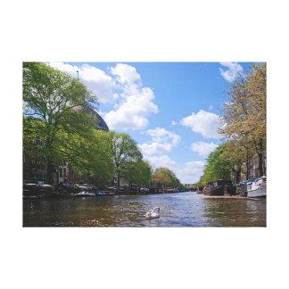 Impressão Em Tela Amsterdão. Canal. Cisne