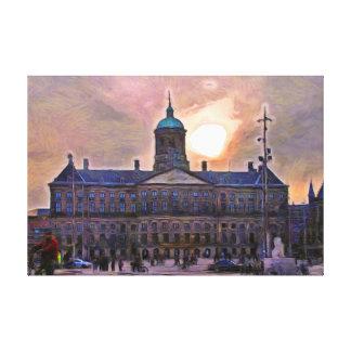 Impressão Em Tela Amsterdão. Por do sol sobre o palácio real
