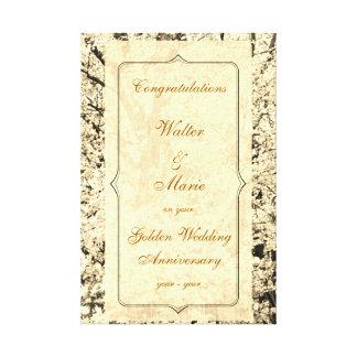 Impressão Em Tela Aniversário de casamento dourado customizável