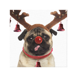 Impressão Em Tela Antlers do Pug - pug do Natal - Feliz Natal