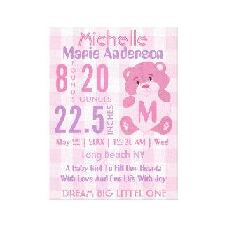 Impressão Em Tela Anúncio personalizado do nascimento