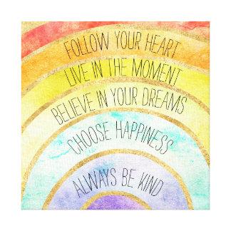 Impressão Em Tela Arco-íris inspirado das citações