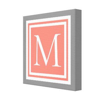 Impressão Em Tela Areia cor-de-rosa cinzenta da pomba e monograma