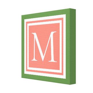 Impressão Em Tela Areia do rosa do verde de musgo e monograma branco
