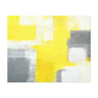 """Impressão Em Tela Arte abstracta cinzenta e amarela """"tropeçada"""""""
