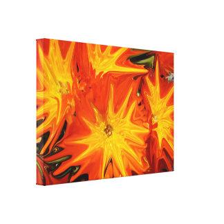 Impressão Em Tela Arte abstracta liquefeita laranja das margaridas,