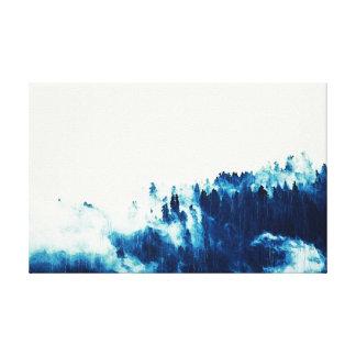 Impressão Em Tela Arte azul da parede do abstrato da montanha em