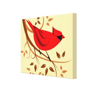 Impressão Em Tela Arte cardinal vermelha estilizado